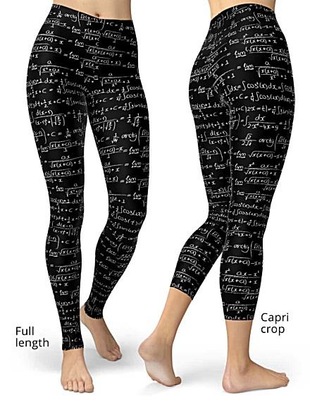 Trig chalkboard blackboard trigonometrical trigonometry math formula integrals leggings women capri