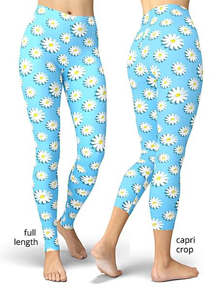 Blue daisy flower leggings women's girls
