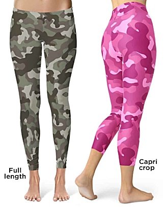 Khaki Pink camo camouflage Leggings Crop Leggings