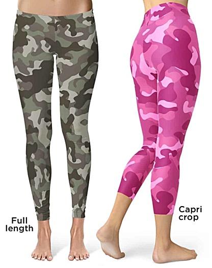 Khaki Pink camo camouflage Leggings Crop Leggings