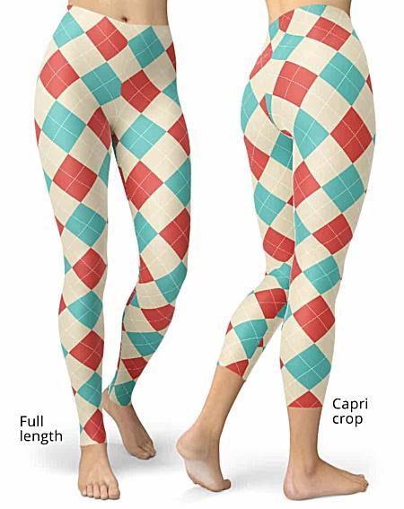 Classic Red & Blue Argyle Leggings
