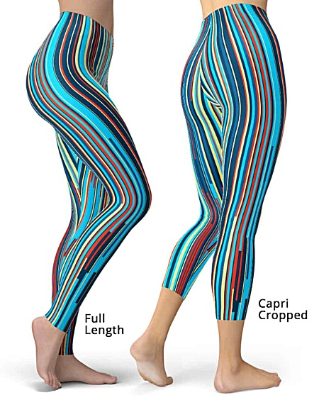 Blue stripe leggings designer hot