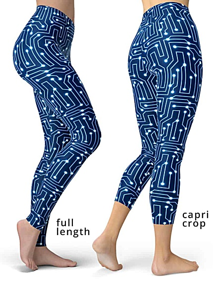 Computer circuit board leggings blue pants