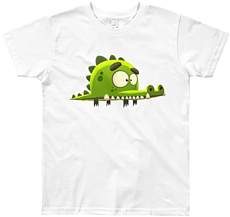 Cool designer kids tshirt by Squeaky Chimp displaying a cartoon crocodile.