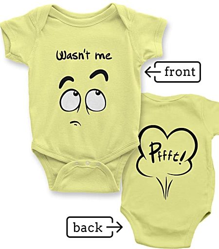 funny Rude baby Farting onesie yellow