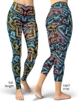 Graffiti Maze retro 80s Leggings