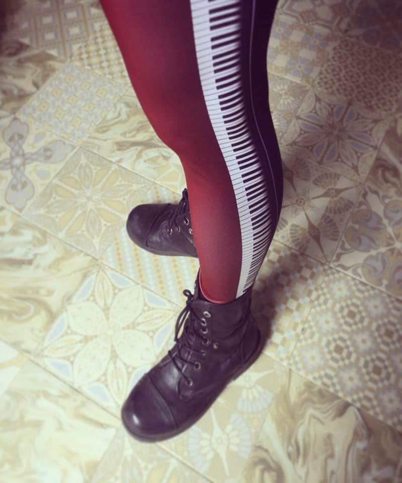 Keyboard music musician piano key leggings stripe black red