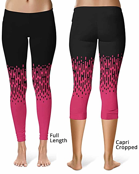 Designer cool pink and black halftone leggings - Full length or capri crop legging