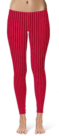 Classic Red Pin Stripe Leggings