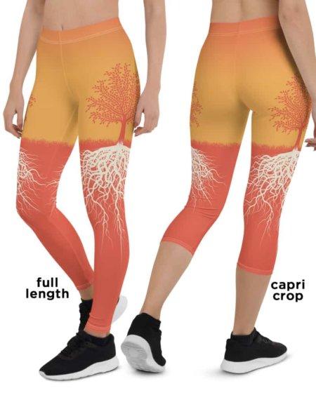 Orange Tree of Life Yoga Leggings - Tree Root