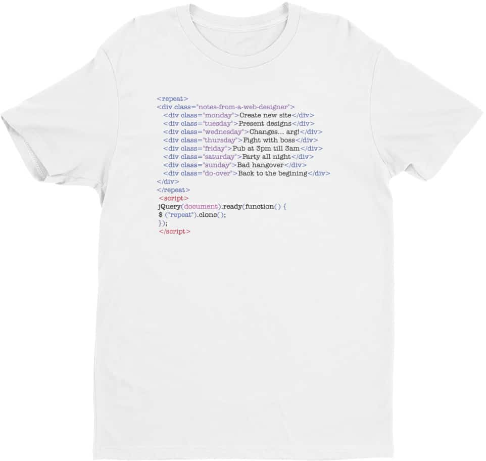 Web Designer Tshirts - Short Sleeve Men