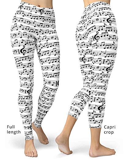 Black white Music Note Leggings - Sheet music pants - notes