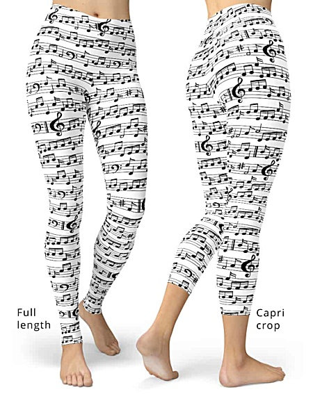 Black white Music Note Leggings - Sheet music pants - notes