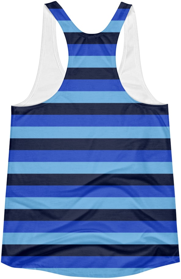 Blue Horizontal Stripe - Racerback Tank Top