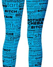 Swear Word Cloud Rude Leggings Blue