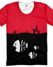 Under Water Fish Skeleton with Floating Oil Rig Platforms - Designer Tshirt