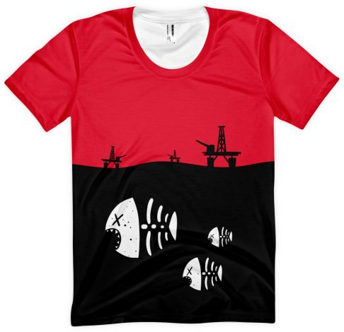 Under Water Fish Skeleton with Floating Oil Rig Platforms - Designer Tshirt