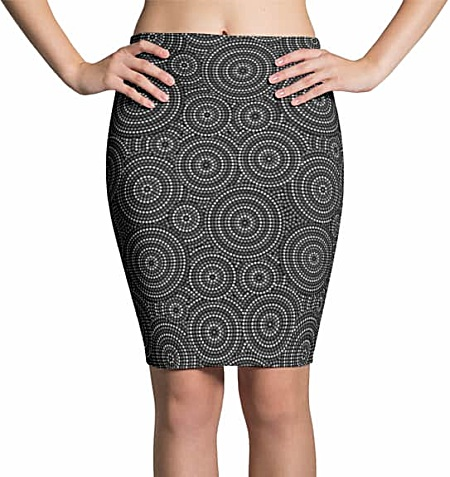 Aboriginal Circles Pencil Skirt