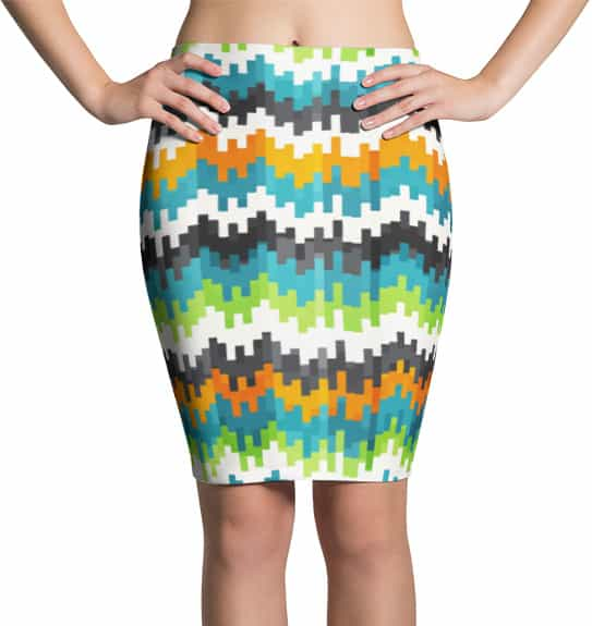 Abstract Pixel Pencil Skirt