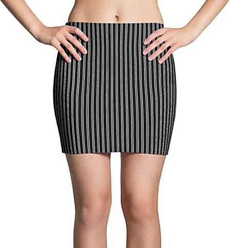 Black and white pinstriped mini skirt