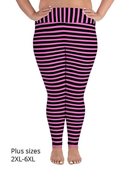 Horizontal Striped plus size Leggings - Full length or capri crop legging - Black & White, Pink, Red, Blue, Orange for Halloween