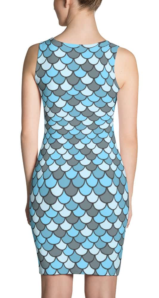 Blue Fish Scale Designer Dress