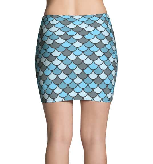 Blue Fish Scale Mini Skirt