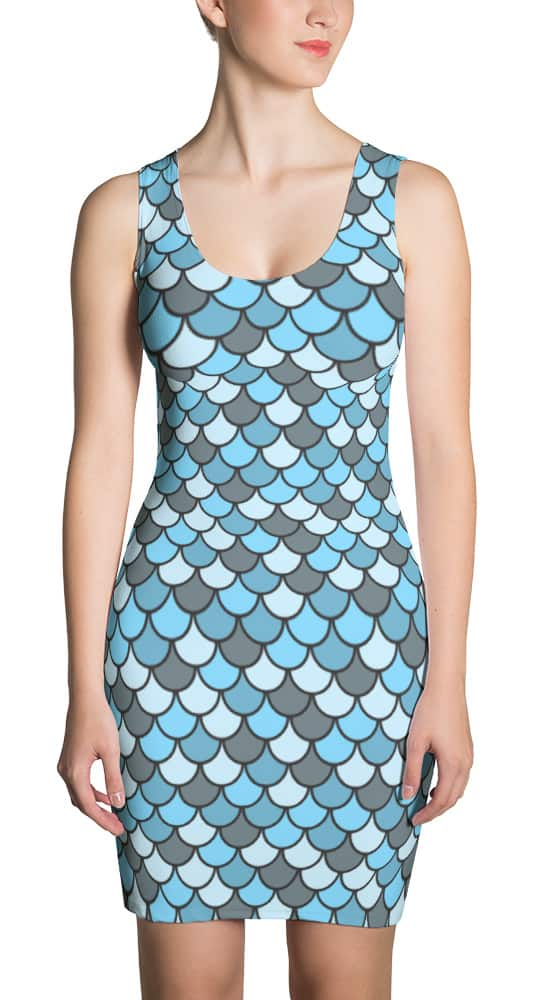 blue-fish-scale-pattern-dress
