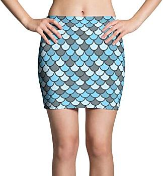 Blue Fish Scale Mini Skirt