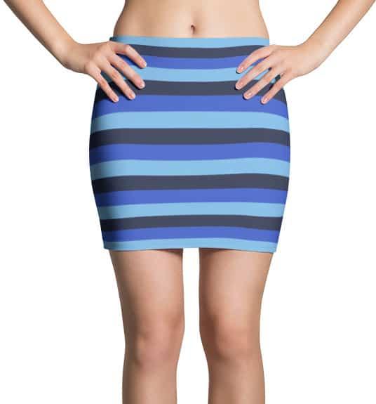 blue-horizontal-stripe-mini-skirt