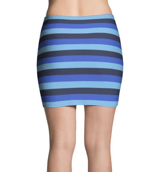 Horizontal Blue Stripes Thinning Mini Skirt