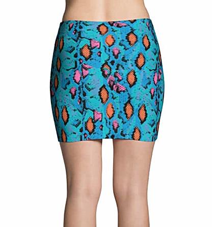 Blue Snakeskin Mini Skirt