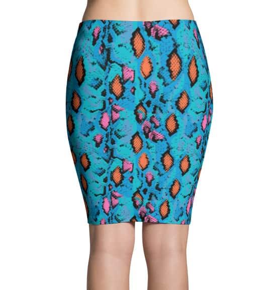 Blue Snakeskin Pencil Skirt