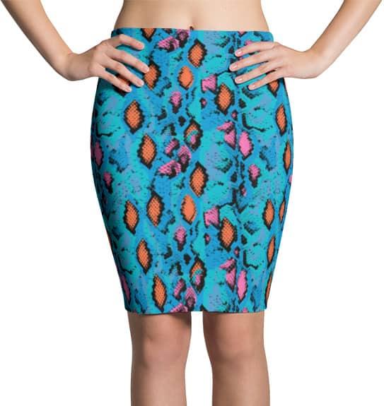 blue-snakeskin-skirt