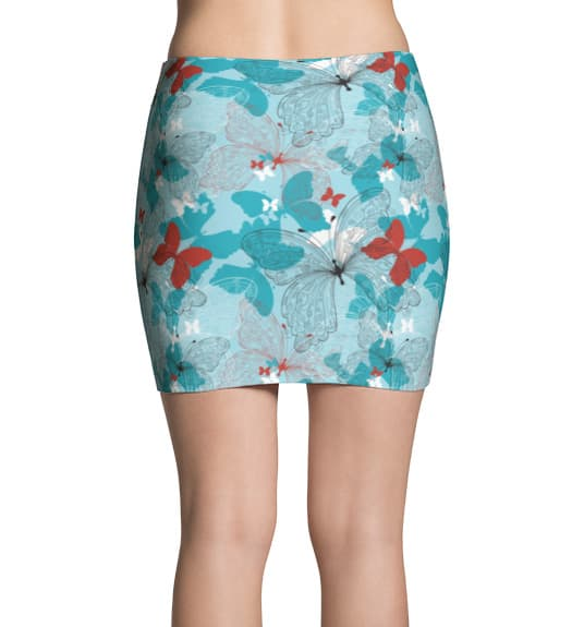 Blue and red butterfly art nouveau pattern printed mini skirt.