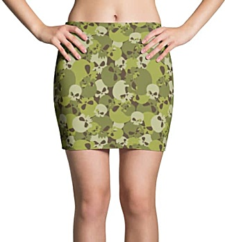 Camouflage Skull Mini Skirt