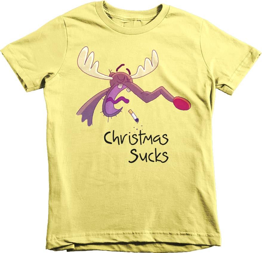 Christmas sucks tshirt for kids yellow squeaky chimp for Yellow t shirt for kids