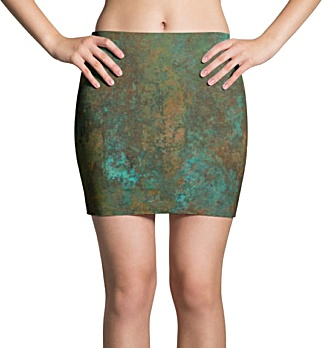 Grungy Metal Copper Mini Skirt
