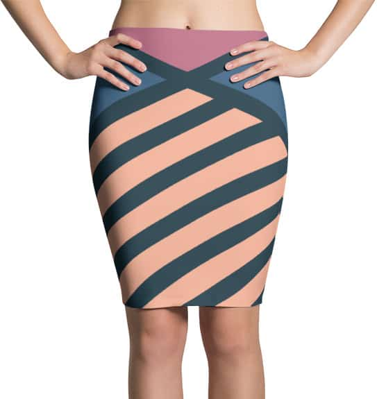 Diagonal Striped Skirt