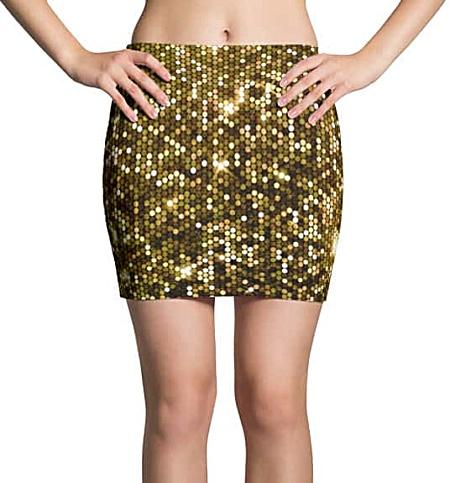 Sparkly Gold Mini Skirt