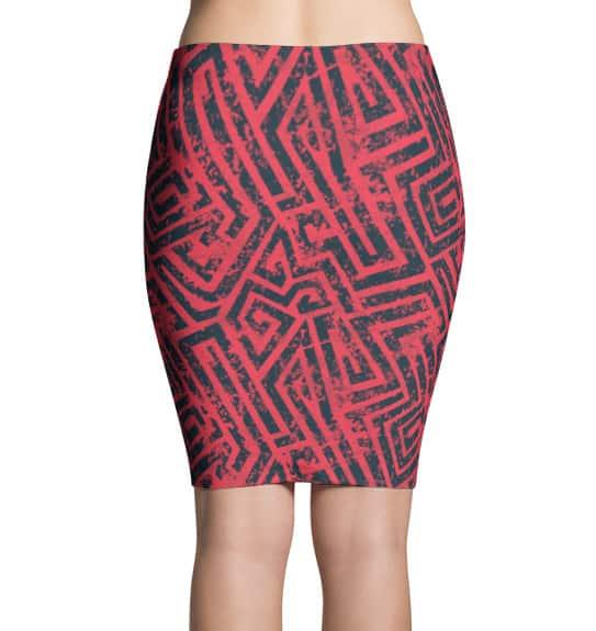 Pink Grunge Pencil Skirt