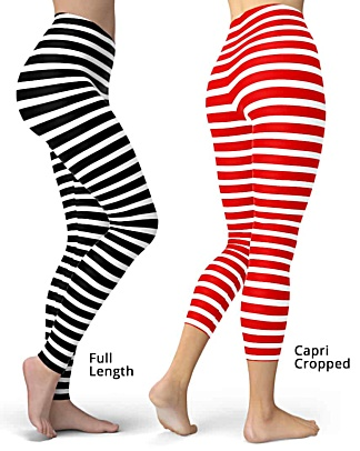 Horizontal Striped Leggings - Full length or capri crop legging - Black & White, Pink, Red, Blue, Orange for Halloween