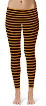 Orange Horizontal Striped Halloween Leggings