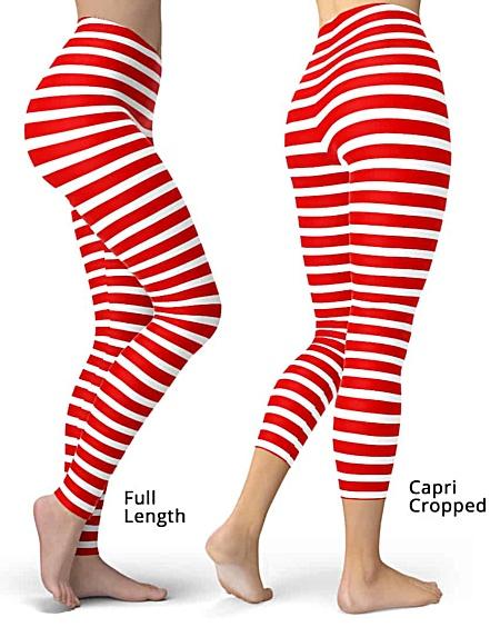 Horizontal Striped Leggings - Full length or capri crop legging - Black & White, Pink, Red, Blue, Orange for Halloween