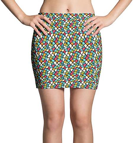 Colorful Mosaic Mini Skirt