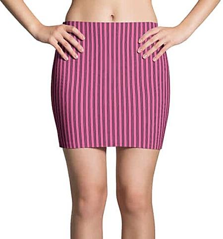 Pink pinstriped mini skirt