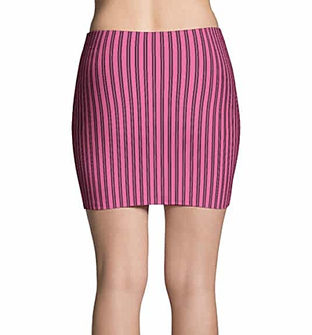 Pink pinstriped mini skirt