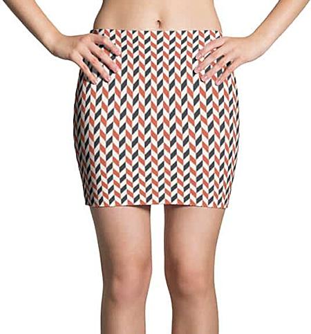 Red Blue Retro Zigzag Mini Skirt