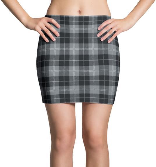 Scottish Tartan Plaid Mini Skirt Gray