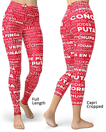 Spanish Swear Words - Swear Word Cloud Rude Leggings